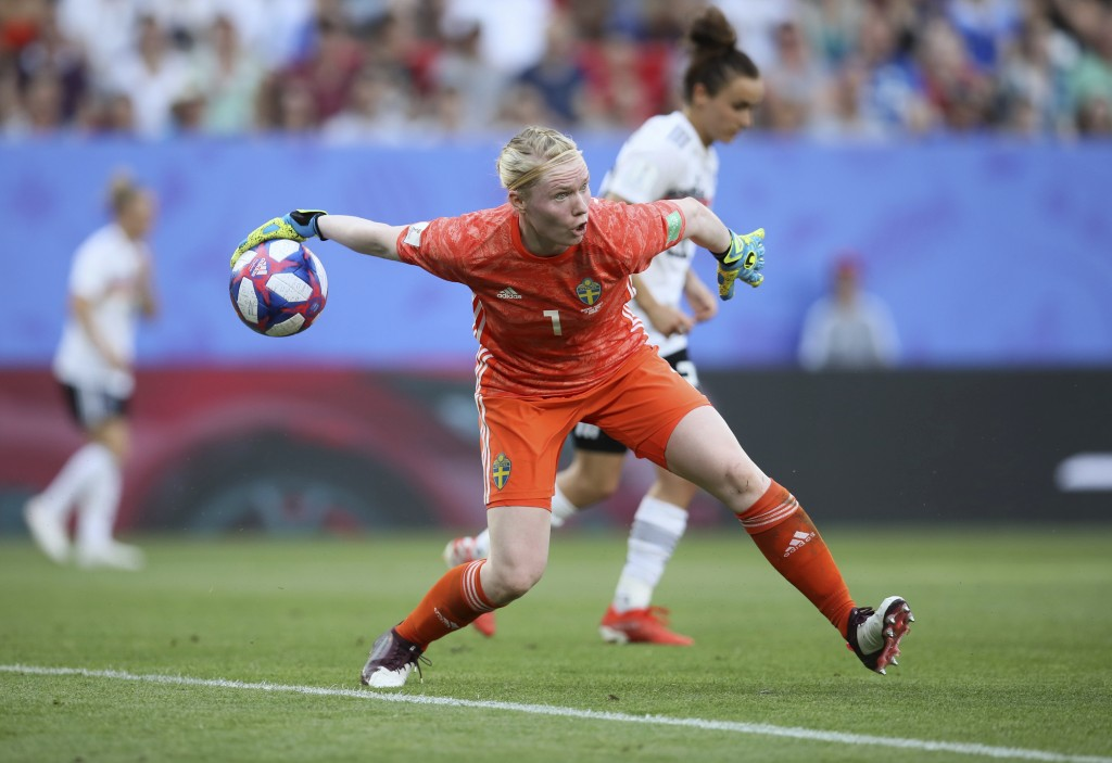 Sweden goalkeeper Hedvig Lindahl throws in the ball during the of the Women's World Cup quarterfinal soccer match between Germany and Sweden at Roazho...