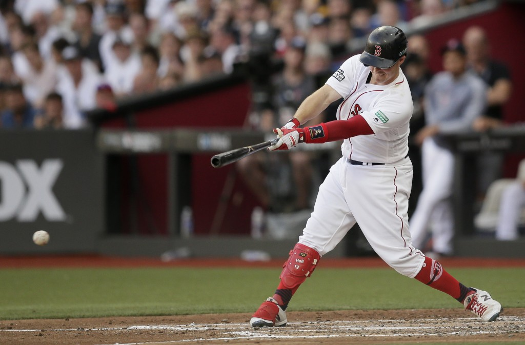 Boston Red Sox's Brock Holt hits an RBI single against the New York Yankees during the first inning of a baseball game, Saturday, June 29, 2019, in Lo...