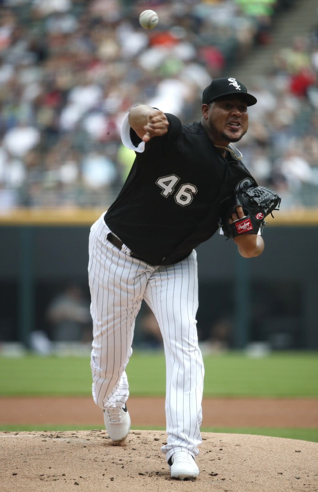 Chicago White Sox starting pitcher Ivan Nova delivers during the first inning of a baseball game against the Minnesota Twins Saturday, June 29, 2019, ...