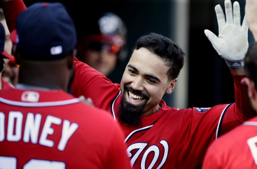 Washington Nationals' Anthony Rendon celebrates his solo home run against the Detroit Tigers during the fourth inning of a baseball game Saturday, Jun...