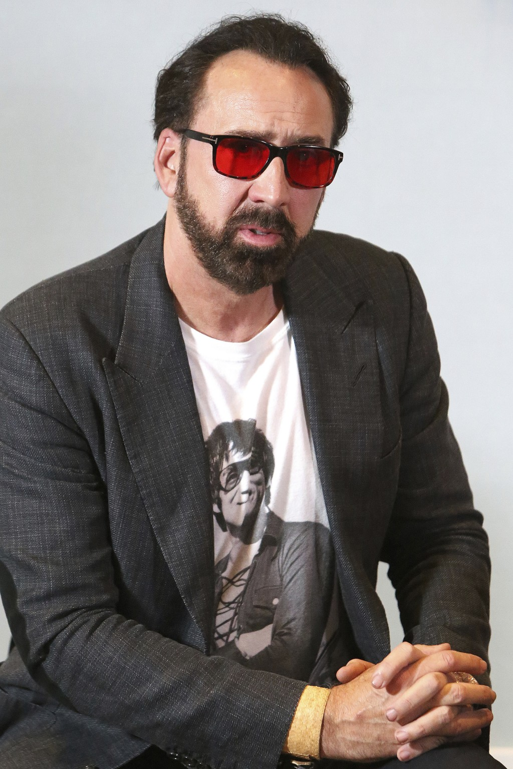 Academy award winning actor Nicolas Cage poses for the media at a news conference for his new film Jiu Jitsu being filmed on the eastern Mediterranean...