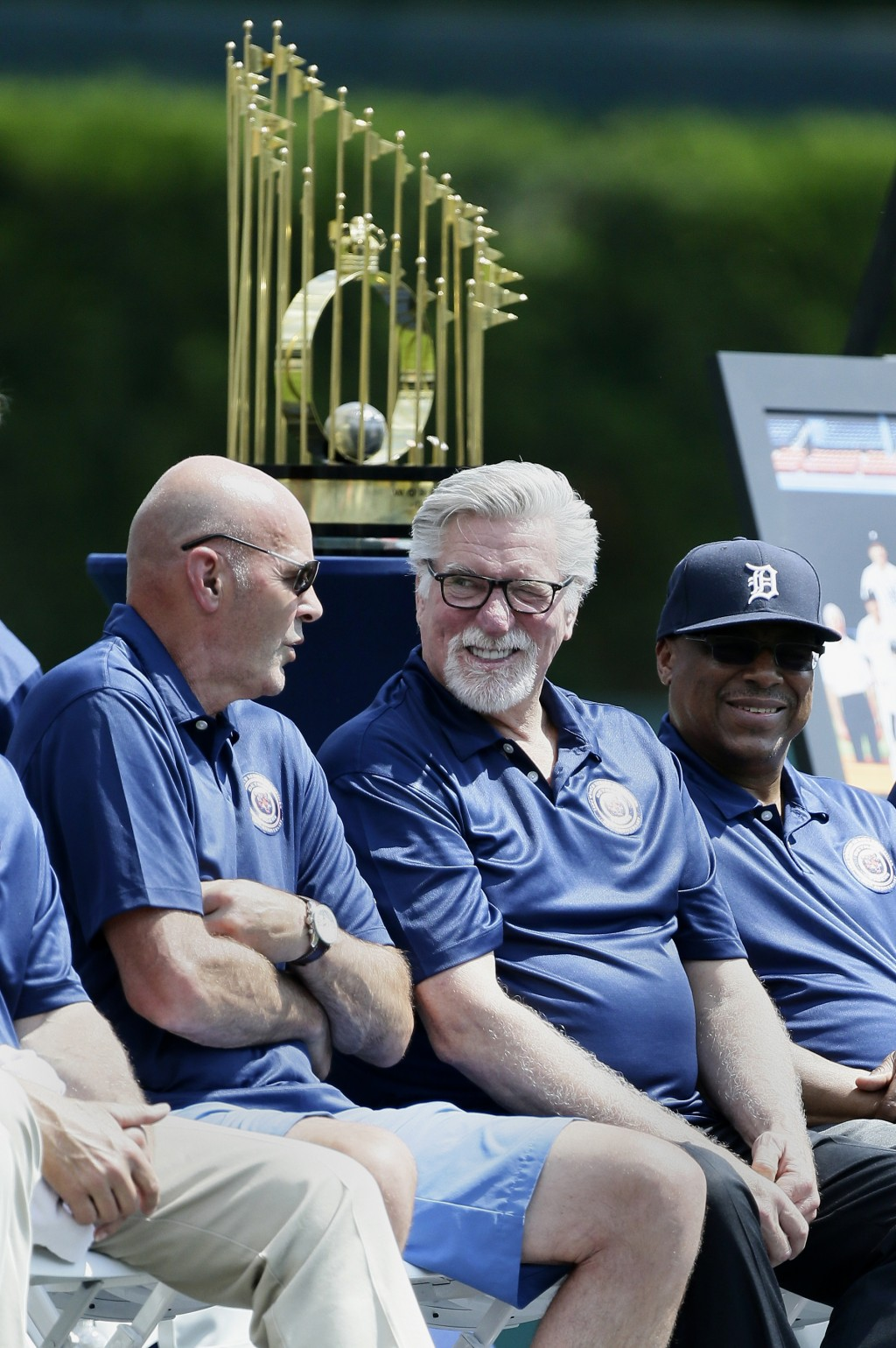 Former Detroit Tiger Kirk Gibson, left, chats with Jack Morris and Lou Whitaker during the 35th anniversary celebration of their 1984 World Series cha...