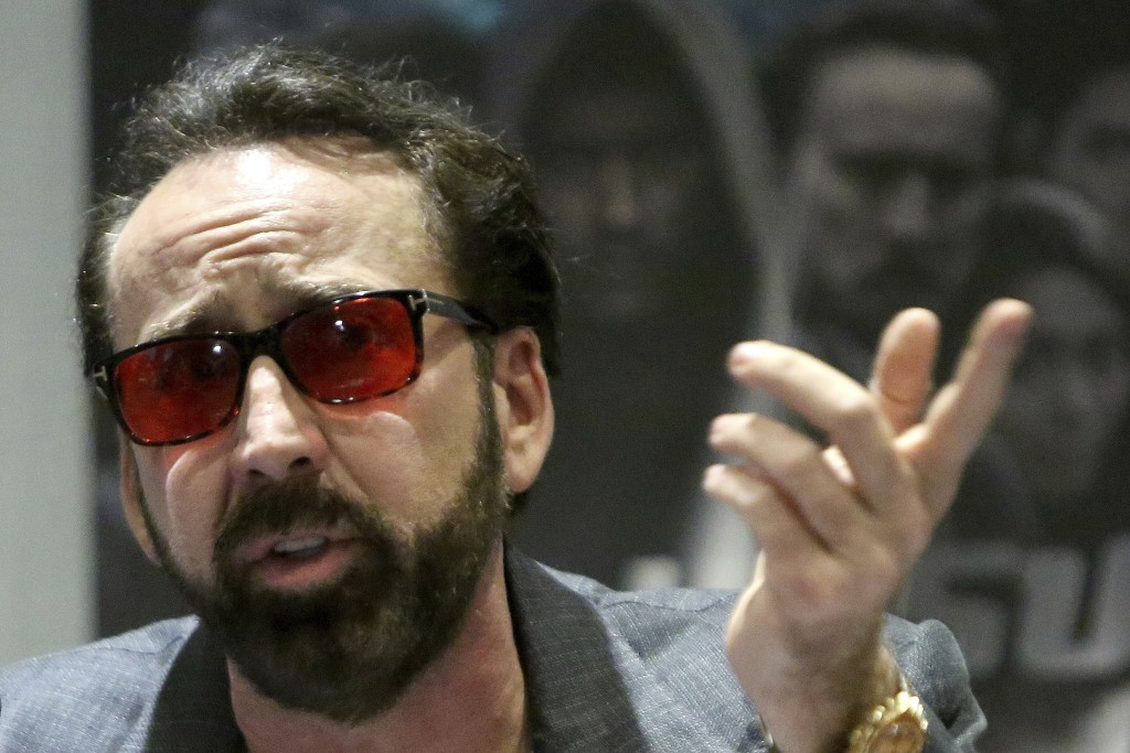 Academy award winning actor Nicolas Cage speaks at a news conference for his new film Jiu Jitsu being filmed on the eastern Mediterranean island natio...