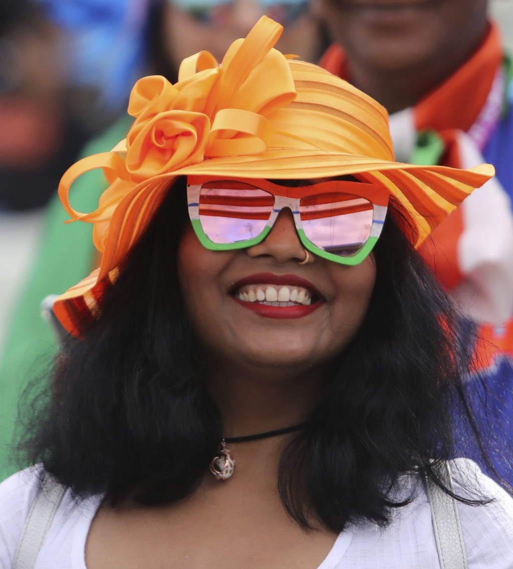 An Indian cricket fan waits for the start of the Cricket World Cup match between India and England in Birmingham, England, Sunday, June 30, 2019. (AP ...