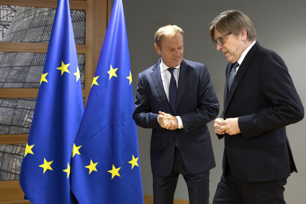 European Council President Donald Tusk, left, welcomes Renew Europe party member Guy Verhofstadt prior to a meeting on the sidelines of an EU summit i...