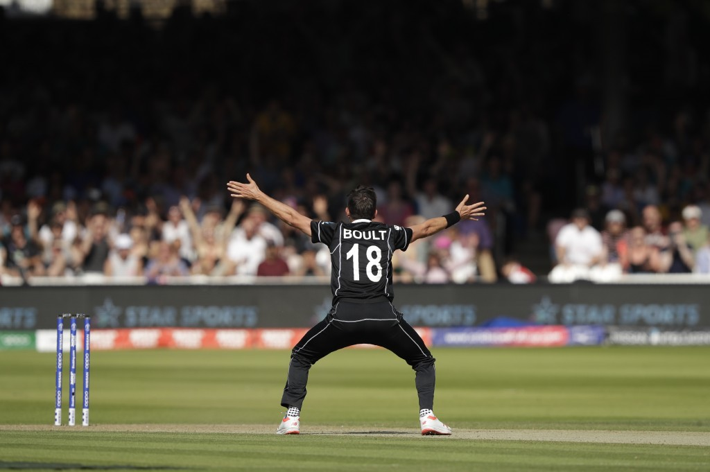 New Zealand's Trent Boult appeals for lbw on Australia's Jason Behrendorff, which was given during the Cricket World Cup match between New Zealand and...