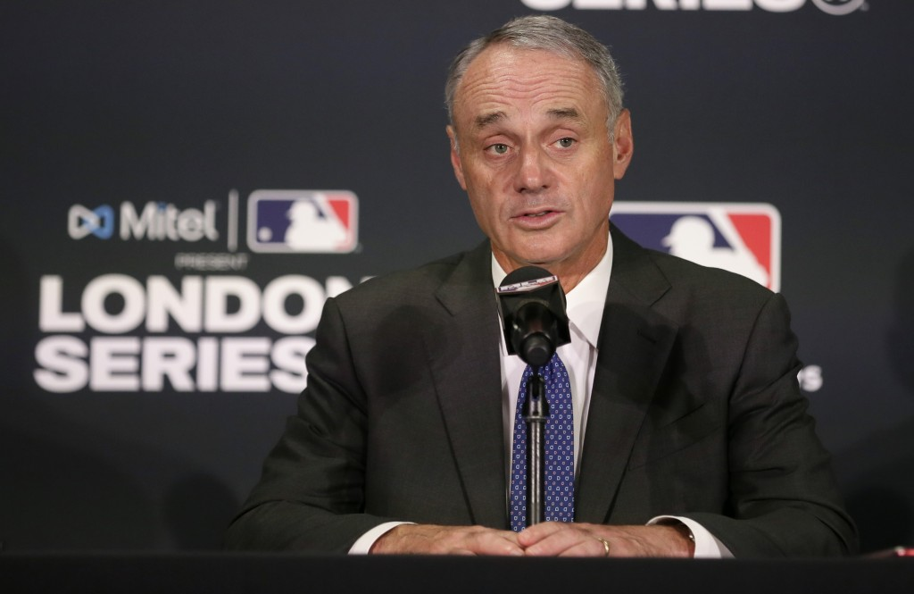 Major League Baseball commissioner Rob Manfred speaks during a news conference before a baseball game between the Boston Red Sox and the New York Yank...