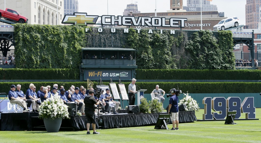 Members of the 1984 Detroit Tigers are celebrated on the 35th anniversary of their 1984 World Series championship before a baseball game against the W...