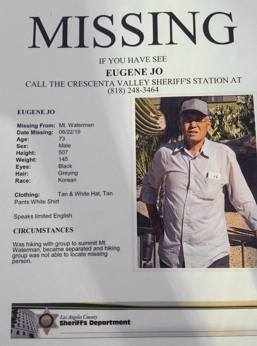 This image provided by the Los Angeles County Sheriff's Department shows 73-year-old Eugene Jo. Searchers have found Eugene Jo, a hiker who has been m...