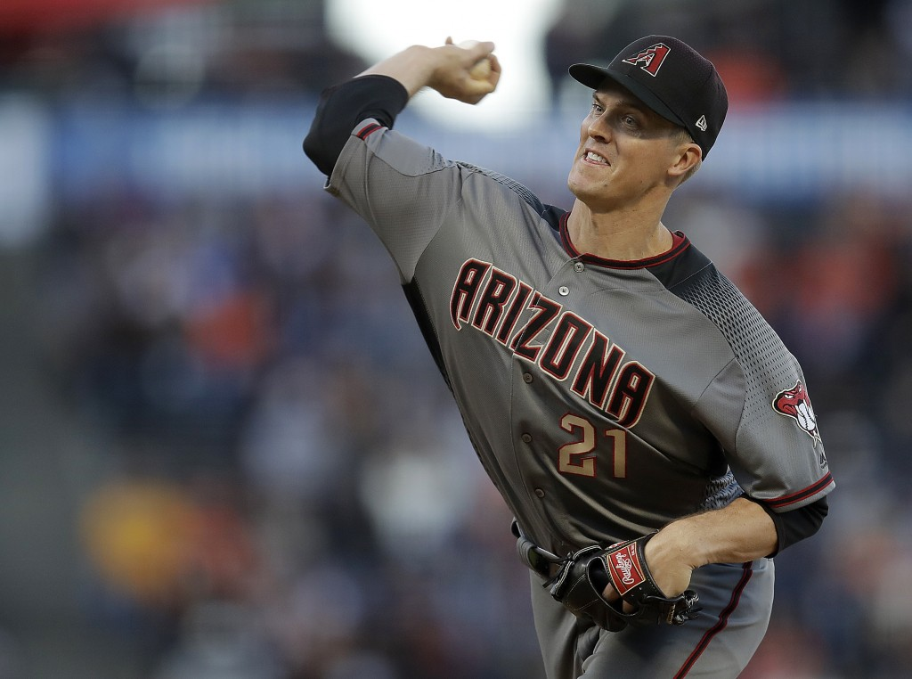 Arizona Diamondbacks pitcher Zack Greinke works against the San Francisco Giants during the first inning of a baseball game Saturday, June 29, 2019, i...