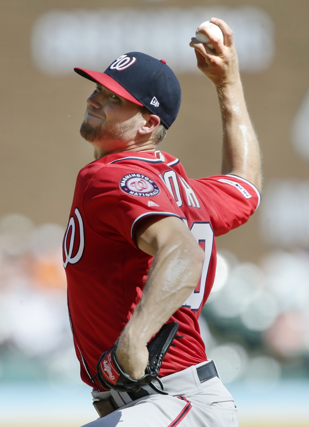 Washington Nationals' Austin Voth pitches against the Detroit Tigers during the second inning of a baseball game Saturday, June 29, 2019, in Detroit. ...