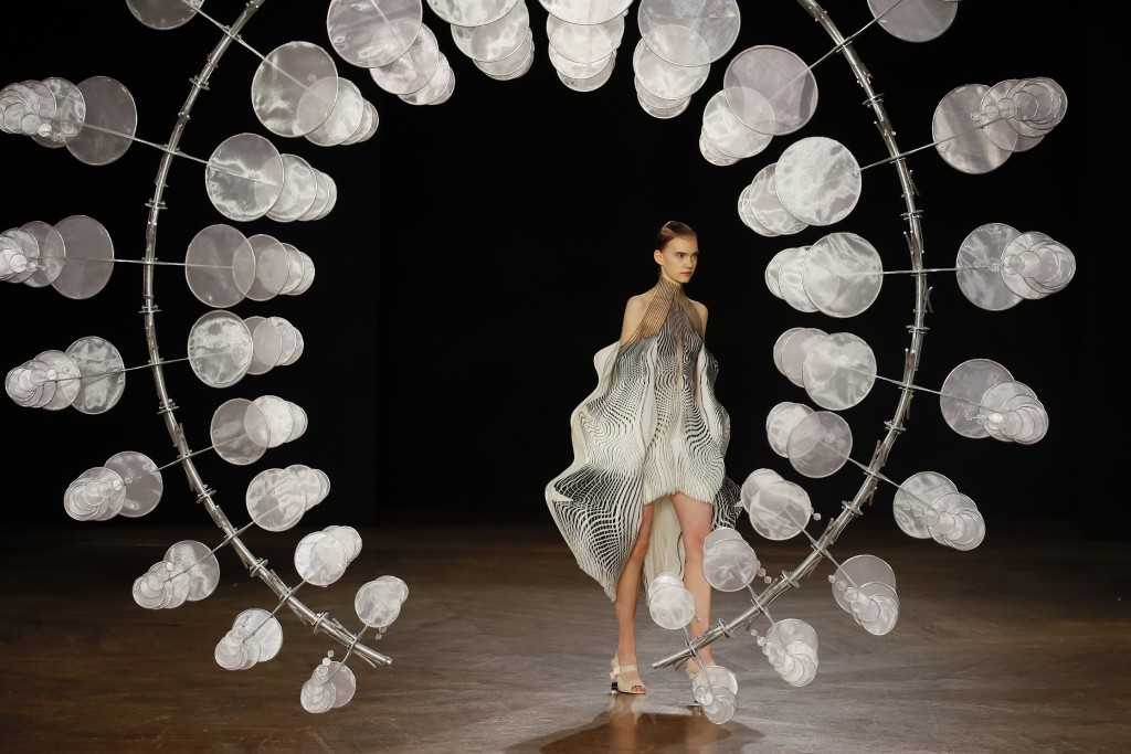 A model wears a creation for Iris van Herpen Haute Couture Fall-Winter 2019-2020 fashion collection presented in Paris, Monday, July 1 2019. (AP Photo...