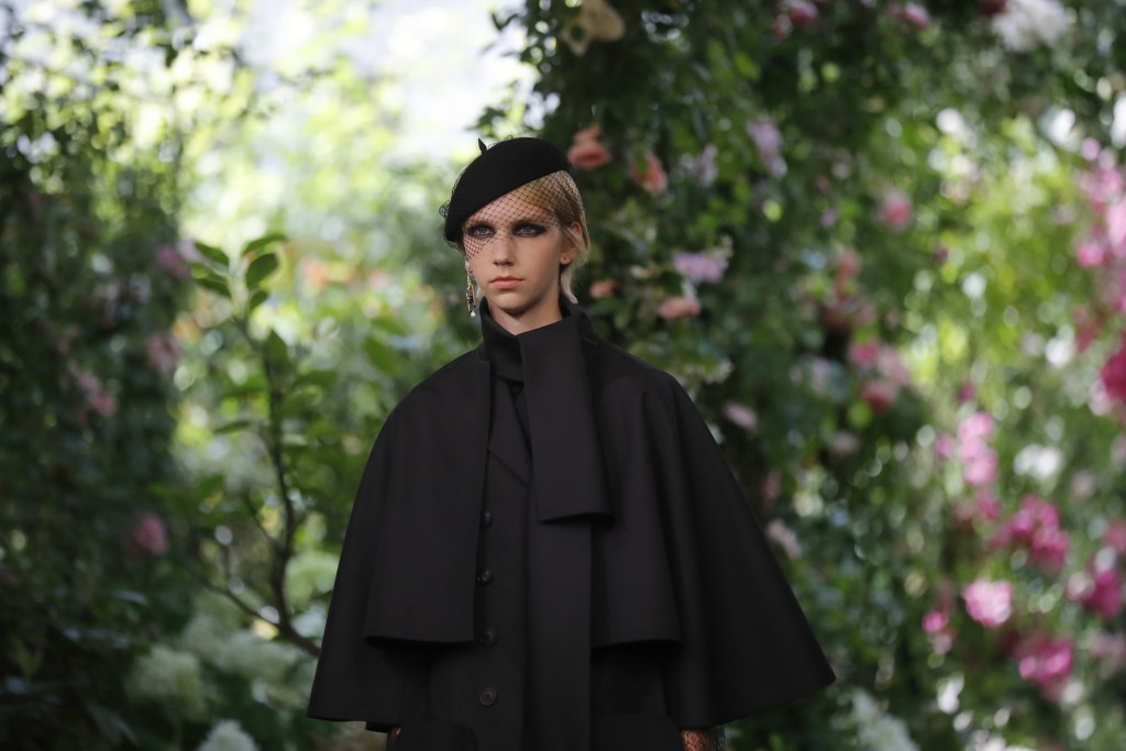 A model wears a creation for the Dior Haute Couture Fall-Winter 2020 fashion collection presented in Paris, Monday, July 1 2019. (AP Photo/Michel Eule...