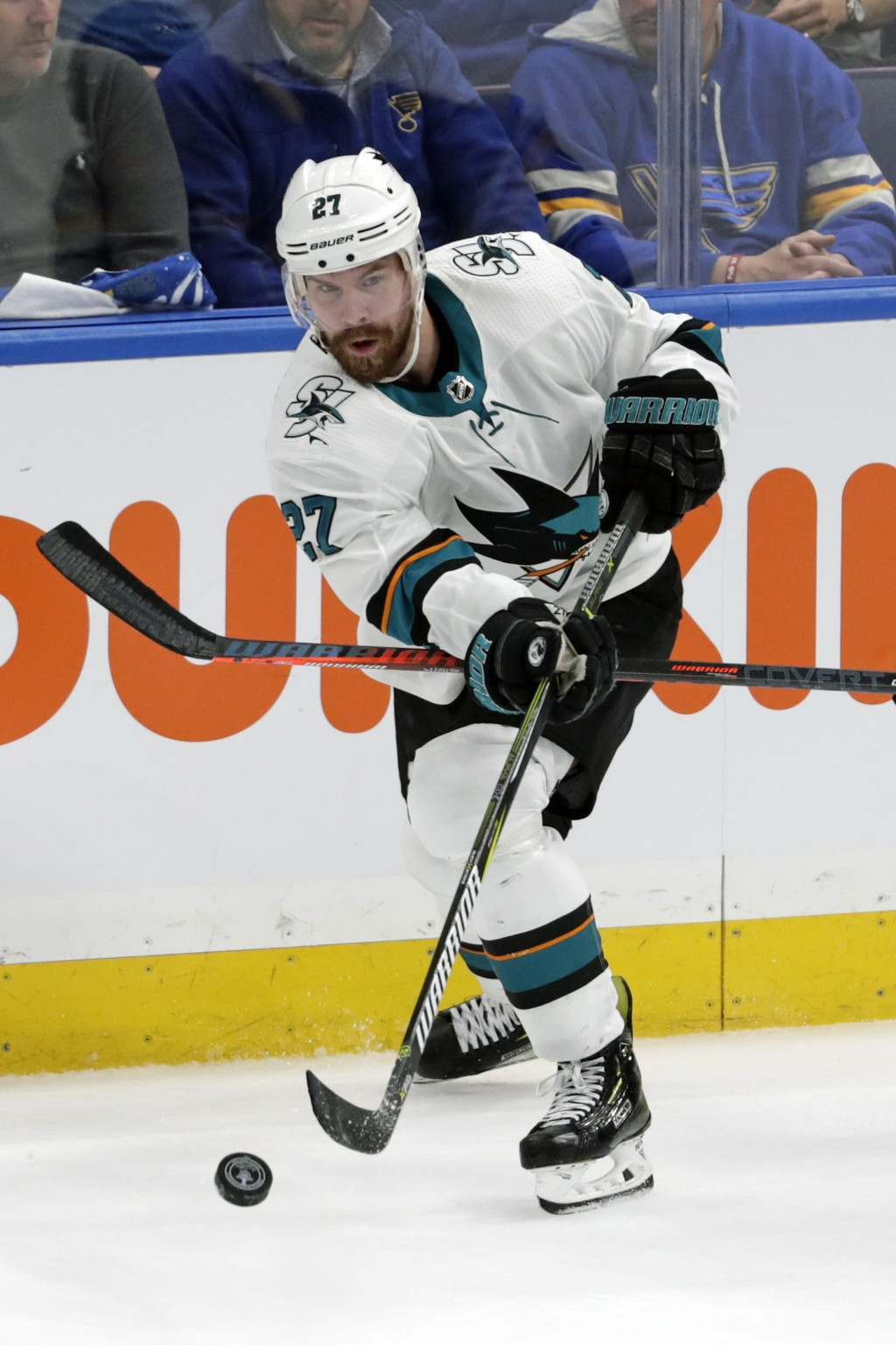 FILE - In this May 21, 2019, file photo, San Jose Sharks right wing Joonas Donskoi (27), of Finland, passes the puck against the  St. Louis Blues duri...