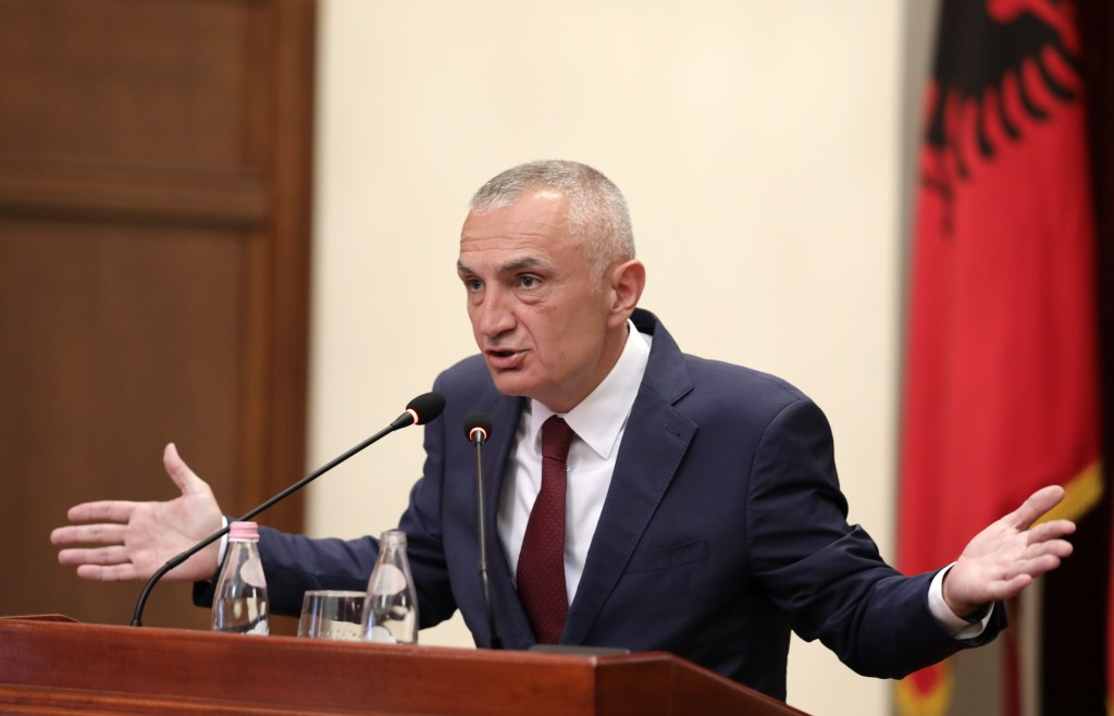 Albania's president Ilir Meta speaks during a press conference in Tirana, Tuesday, July 2, 2019. Meta has strongly denounced the June 30 municipal ele