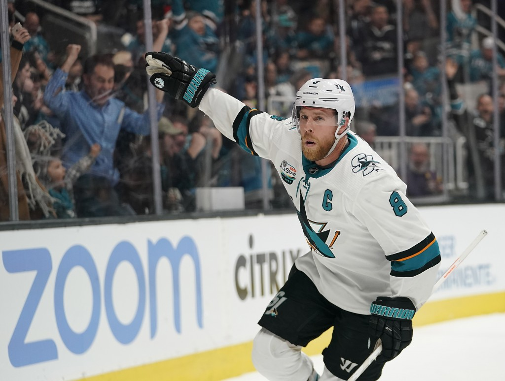 FILE - In this Dec. 22, 2018, file photo, San Jose Sharks center Joe Pavelski (8) celebrates after scoring a goal against the Los Angeles Kings during
