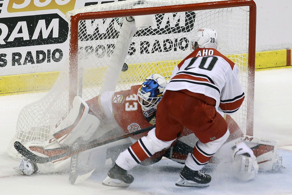 FILE - In this March 2, 2019, file photo, Carolina Hurricanes' Sebastian Aho (20) scores the game winning goal against Florida Panthers goalkeeper Sam...