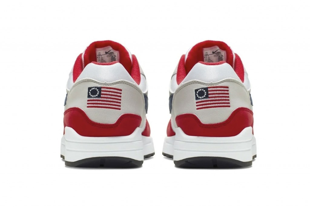 This undated product image obtained by the Associated Press shows Nike Air Max 1 Quick Strike Fourth of July shoes that have a U.S. flag with 13 white