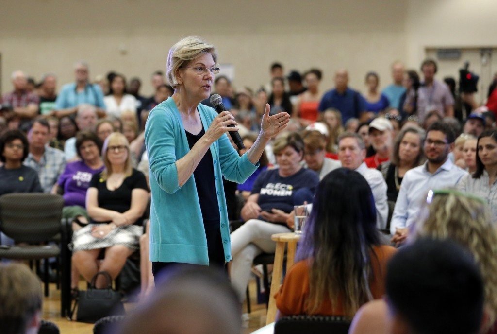 Democratic presidential candidate Sen. Elizabeth Warren, of Massachusetts, speaks at a campaign event, Tuesday, July 2, 2019, in Las Vegas. (AP Photo/...