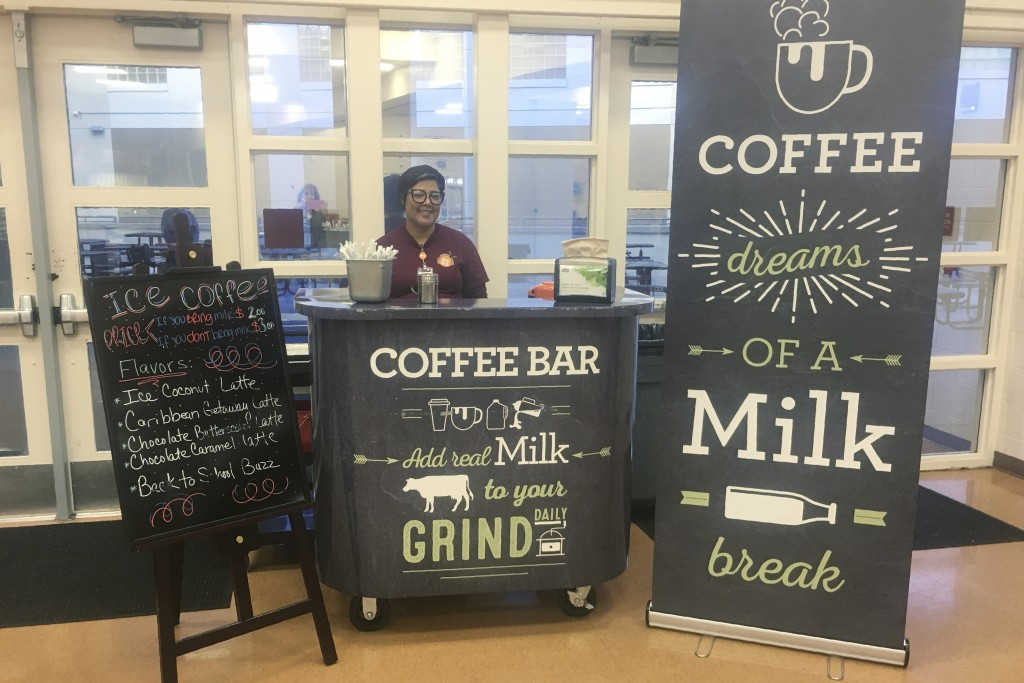 This Feb. 22, 208 photo provided by Orange County Public Schools shows a coffee stand at Cypres Creek High School in Orlando, Fla. Orange County schoo...