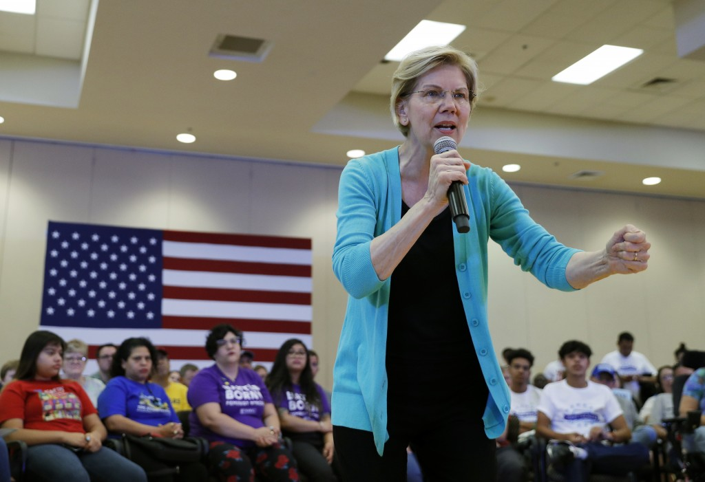Democratic presidential candidate Sen. Elizabeth Warren, D-Mass., speaks at a campaign event Tuesday, July 2, 2019, in Las Vegas. (AP Photo/John Loche...