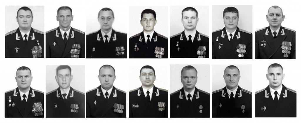 The combo of photos of the 14 crew members who died in a fire on a Russian navy's deep-sea research submersible, distributed on July 4, 2019, by Russi...