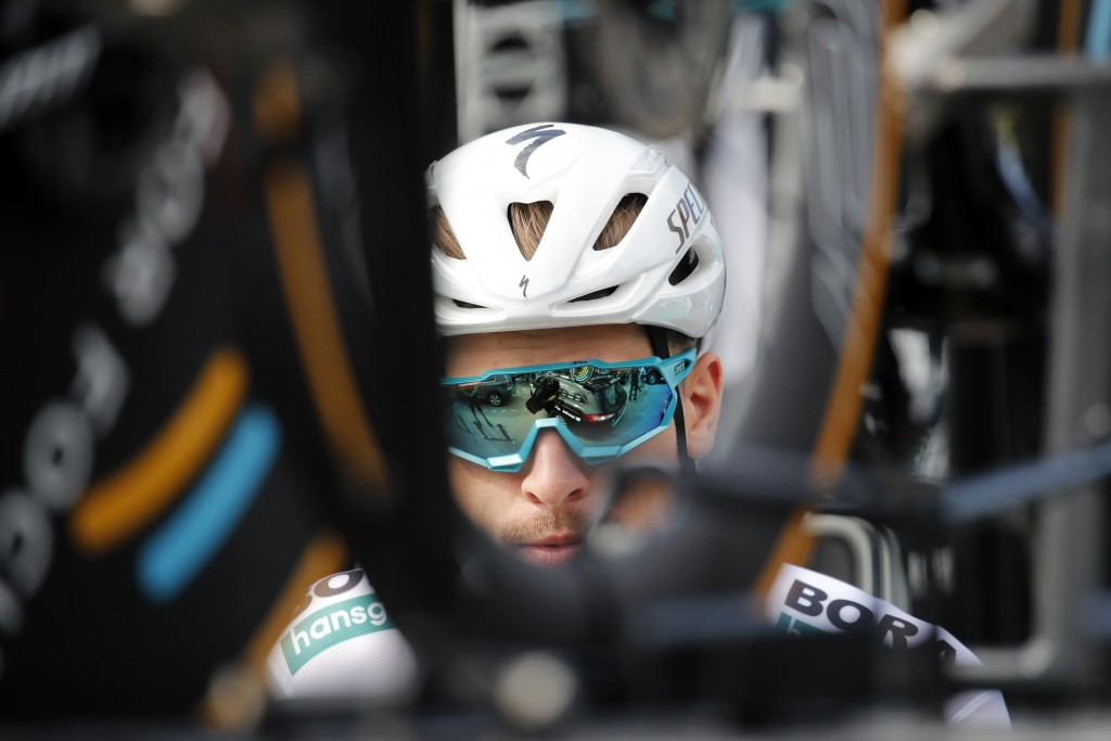 Slovakia's Peter Sagan is seen prior to a training session, in Brussels, Friday, July 5, 2019, ahead of upcoming Saturday's start of the race. (AP Pho...