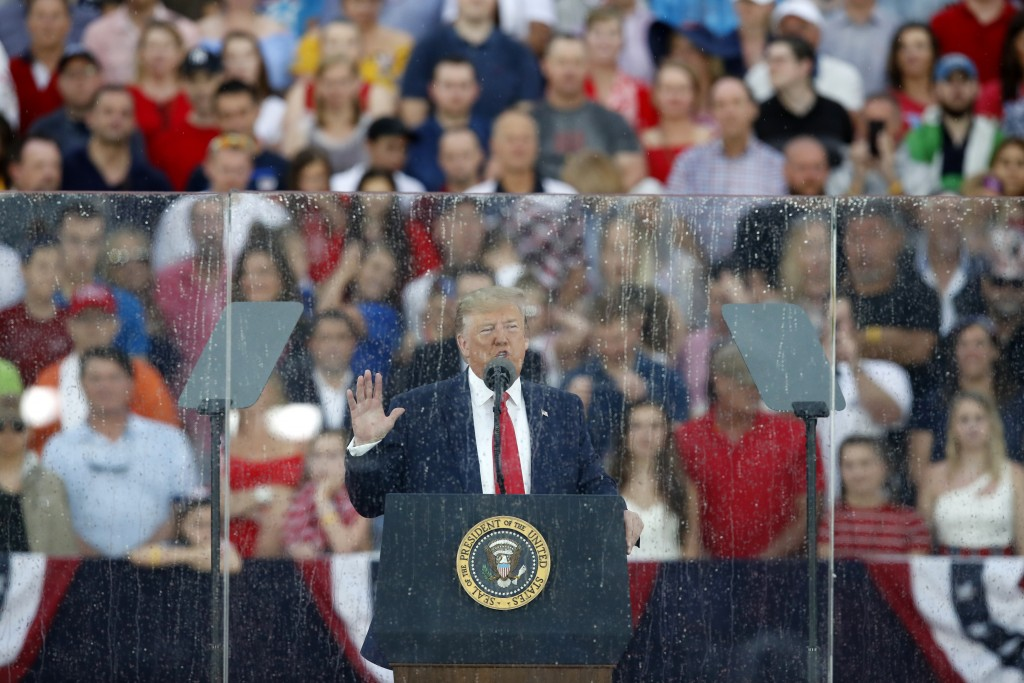 President Donald Trump speaks during an Independence Day celebration in front of the Lincoln Memorial, Thursday, July 4, 2019, in Washington. (AP Phot...