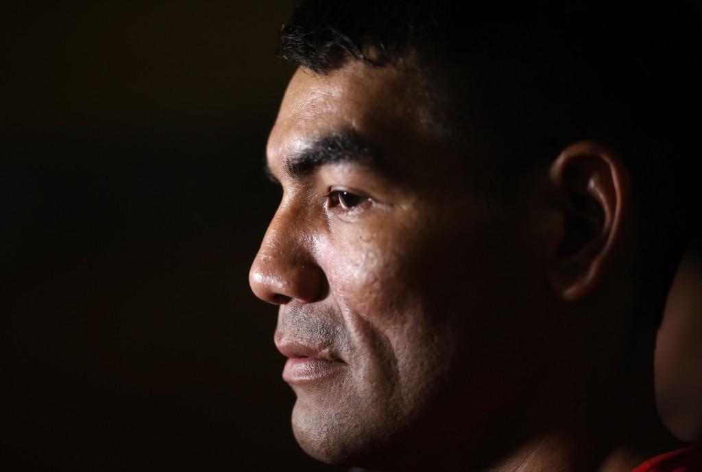 "Inmate Richard Moray, whose boxing nickname is ""La Pantera,"" trains in Esperanza prison in Asuncion, Paraguay, Tuesday, July 2, 2019. Nicknamed ""The P..."