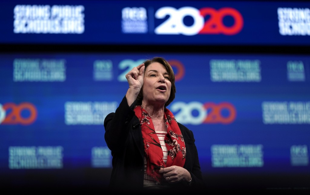 Democratic presidential candidate Sen. Amy Klobuchar, D-Minn., speaks during the National Education Association Strong Public Schools Presidential For