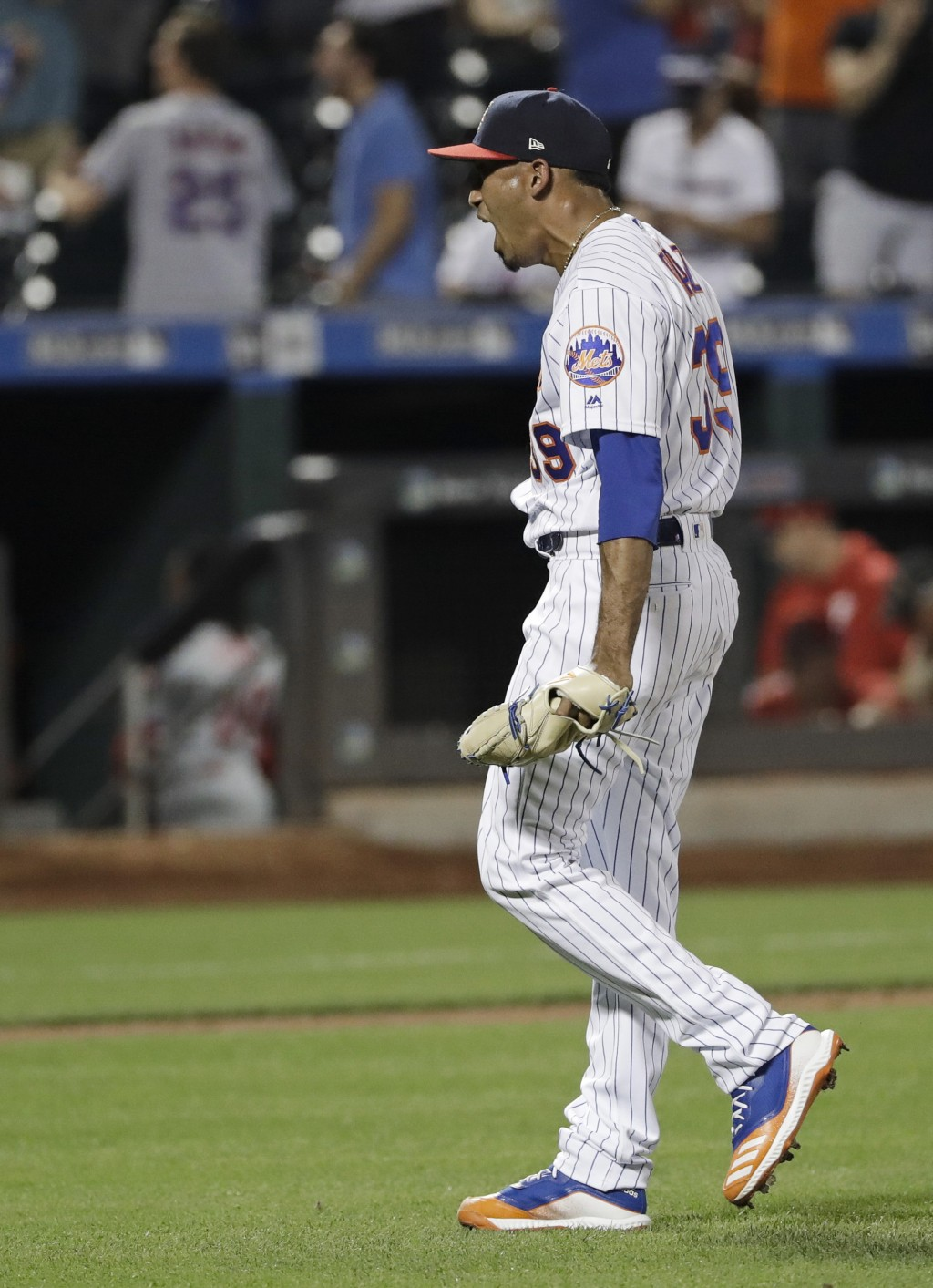 New York Mets relief pitcher Edwin Diaz celebrates after a baseball game against the Philadelphia Phillies, Saturday, July 6, 2019, in New York. (AP P...
