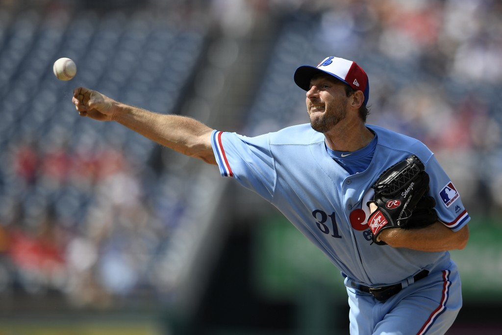 Washington Nationals starting pitcher Max Scherzer delivers during the first inning of a baseball game against the Kansas City Royals, Saturday, July