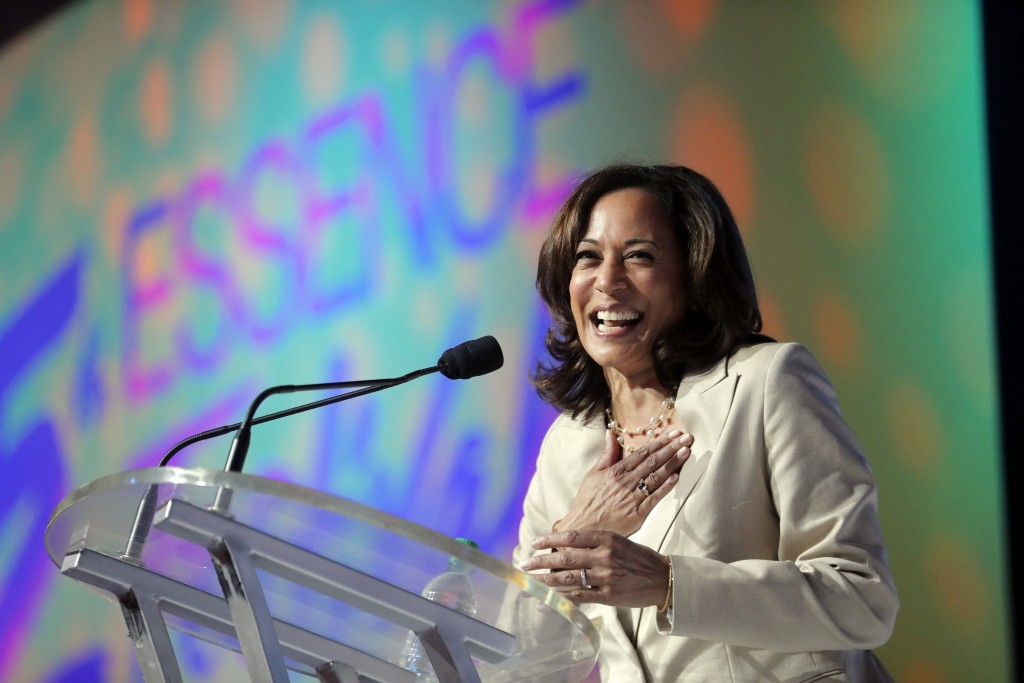 Democratic presidential candidate, Sen. Kamala Harris, D-Calif., speaks at the 25th Essence Festival in New Orleans, Saturday, July 6, 2019. (AP Photo...