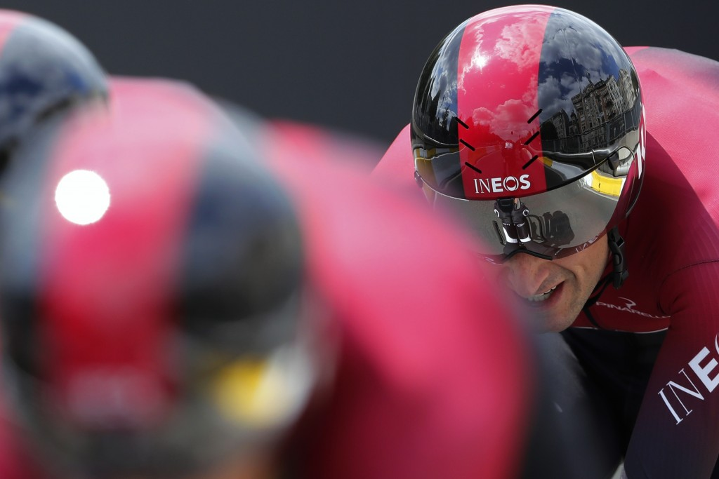 Team Ineos strains during the second stage of the Tour de France cycling race, a team time trial over 27.6 kilometers (17 miles) with start and finish...