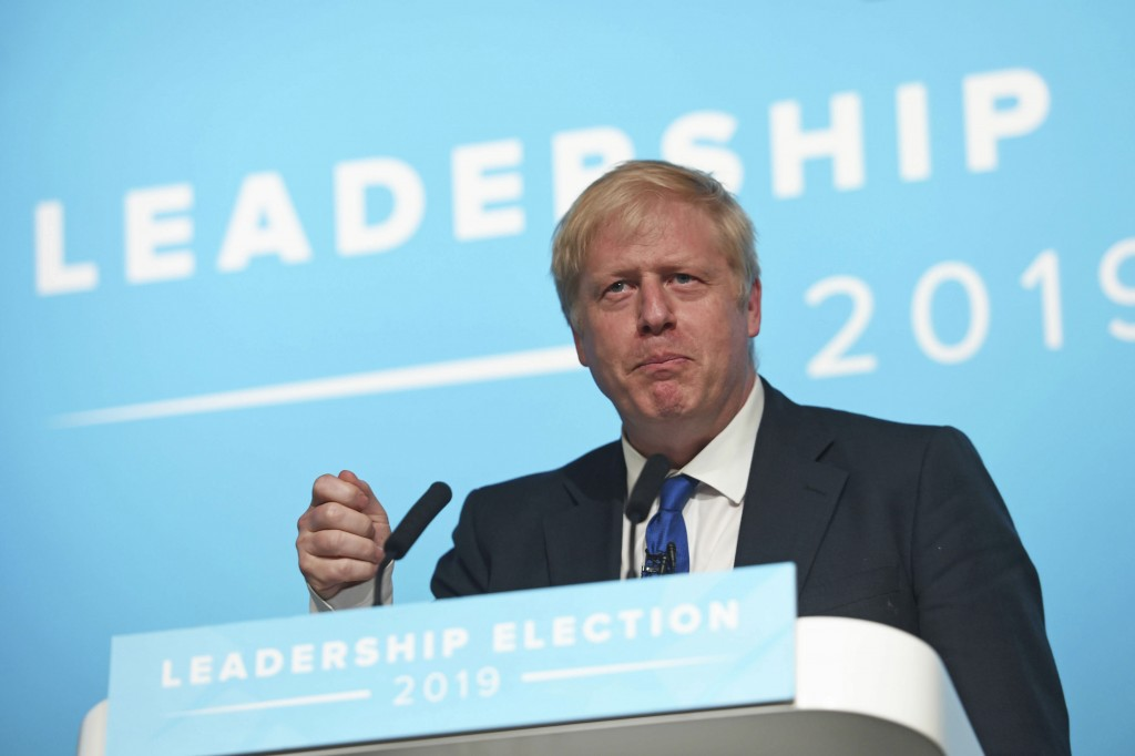 Conservative party leadership candidate Boris Johnson speaks during a Tory leadership hustings at the All Nations Centre in Cardiff, Wales, Saturday,