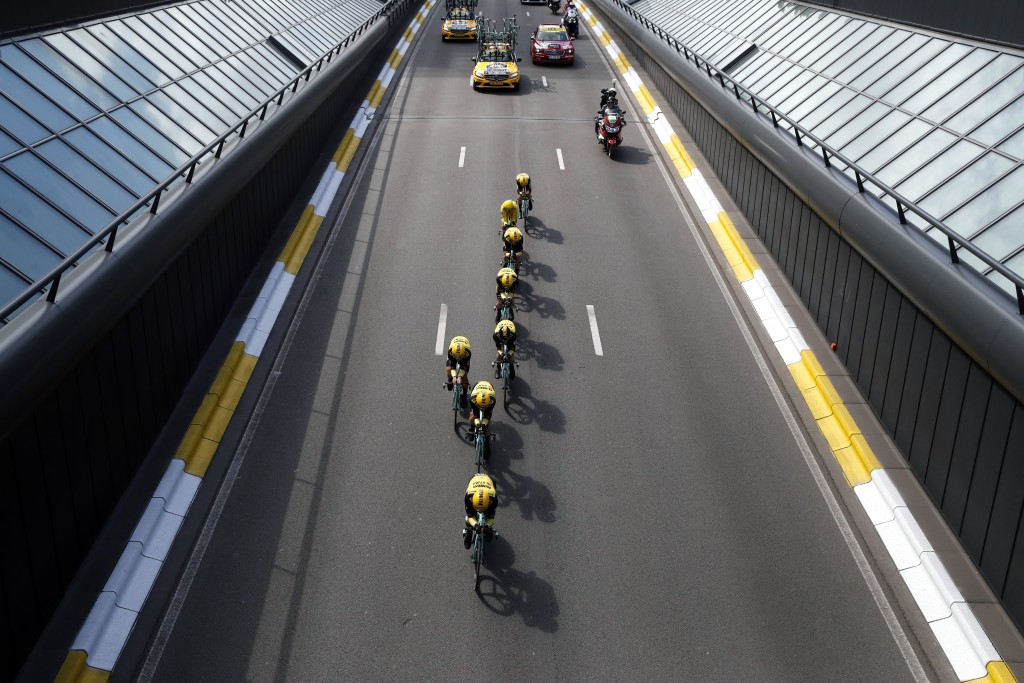 Team Jumbo Visma strains during the second stage of the Tour de France cycling race, a team time trial over 27.6 kilometers (17 miles) with start and