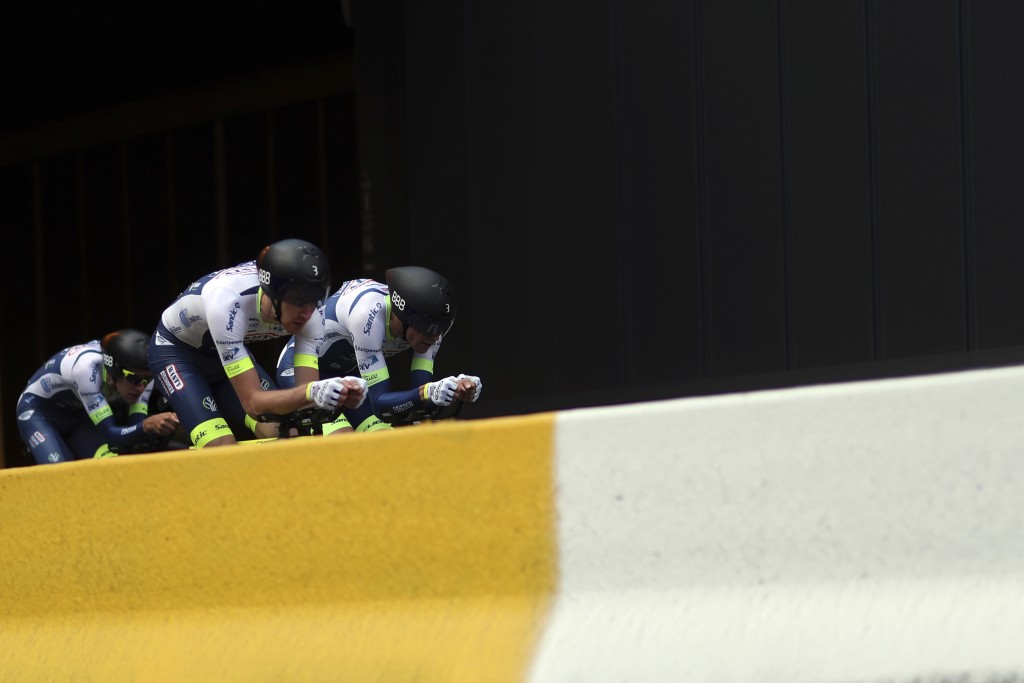 Wanty Gobert cycling team strains during the second stage of the Tour de France cycling race, a team time trial over 27.6 kilometers (17 miles) with s...