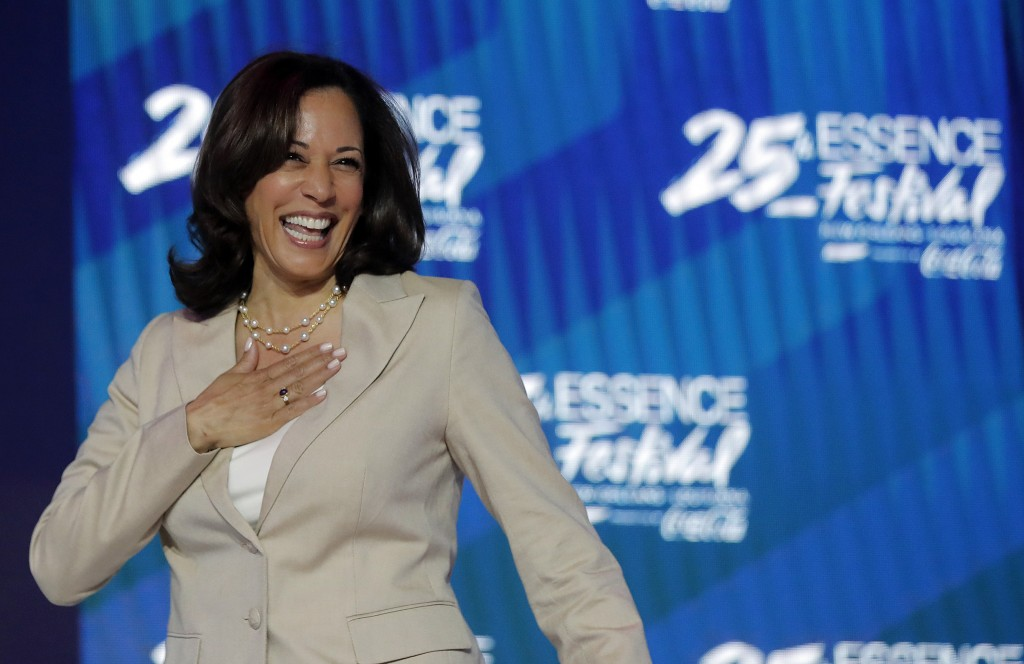 Democratic presidential candidate, Sen. Kamala Harris, D-Calif., arrives to speak at the 25th Essence Festival in New Orleans, Saturday, July 6, 2019....