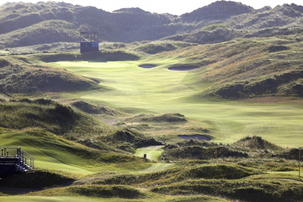 The 7th hole on the Dunluce Links course at Royal Portrush Golf Club, Northern Ireland, Saturday, July 6 2019. The Open Golf Championship will be play...