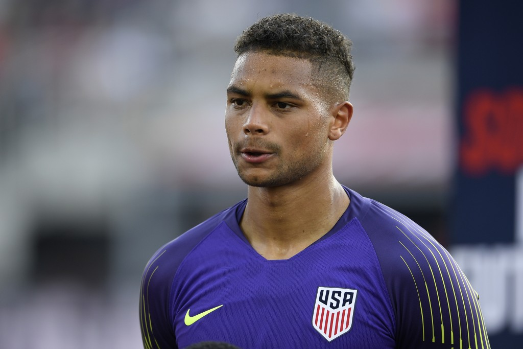 FILE - In this June 5, 2019 file photo, United States goalkeeper Zack Steffen (1) stands on the field before an international friendly soccer match ag...