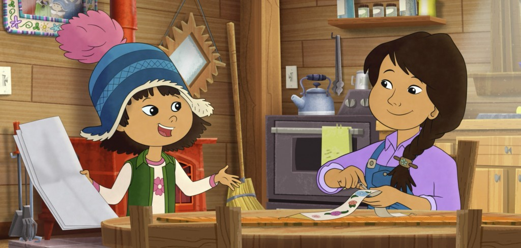 This image released by PBS shows characters Molly, voiced by Sovereign Bill, left, and her mother, voiced by Jules Koostachin in a scene from the anim