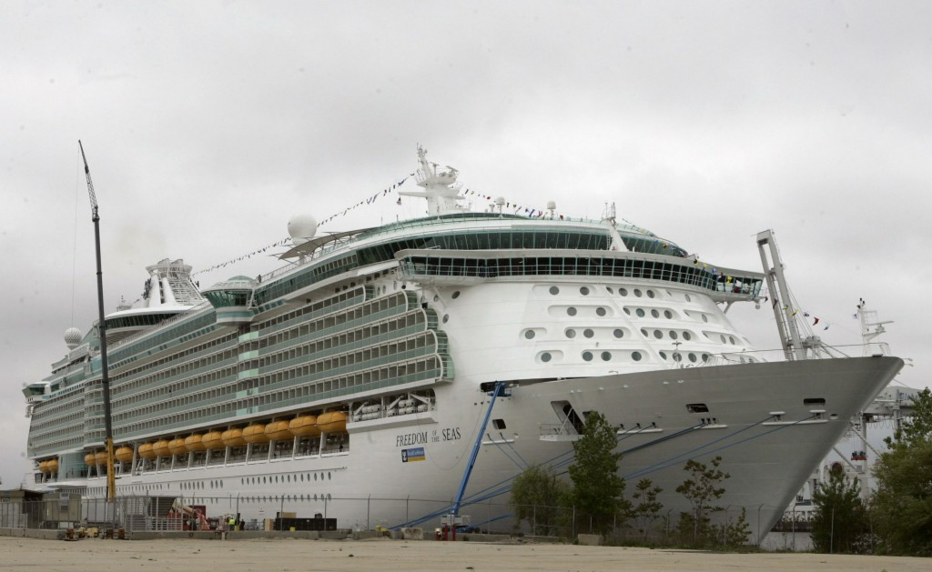 FILE - This May 11, 2006 file photo shows the Freedom of the Seas cruise ship docked in Bayonne, N.J. Police in Puerto Rico say that on Sunday, July 7...
