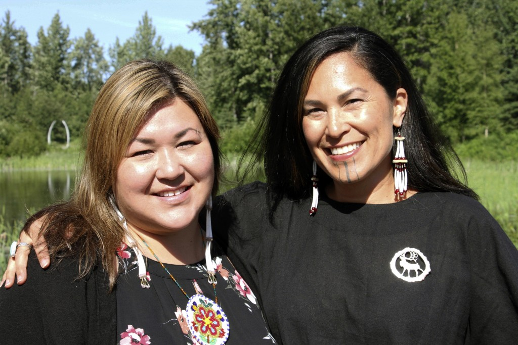 "In this June 19, 2019, photo, Rochelle Adams, left, an Alaska Native cultural advisor, and Princess Johnson, the creative producer for the series ""Mol"