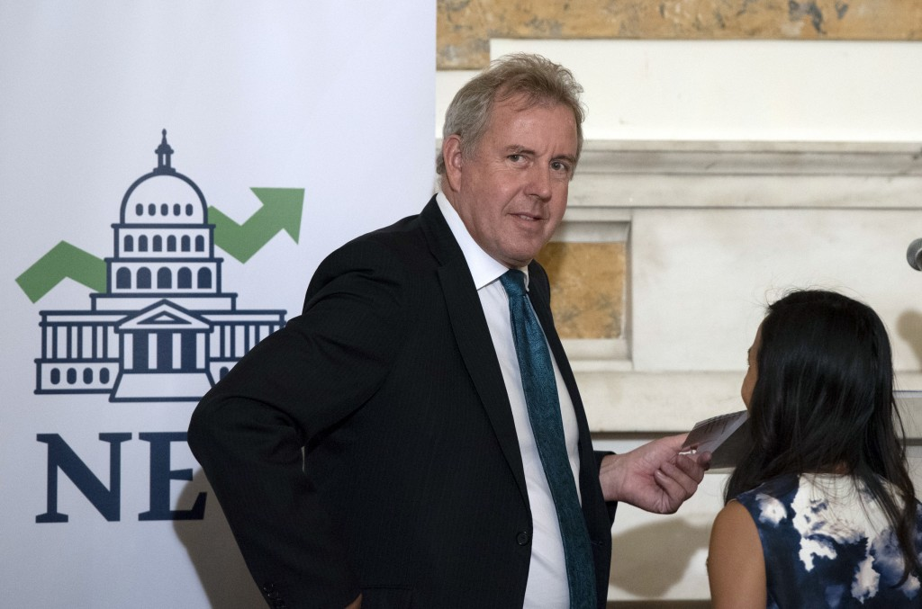 In this Friday, Oct. 20, 2017 photo, British Ambassador Kim Darroch hosts a National Economists Club event at the British Embassy in Washington. Leake