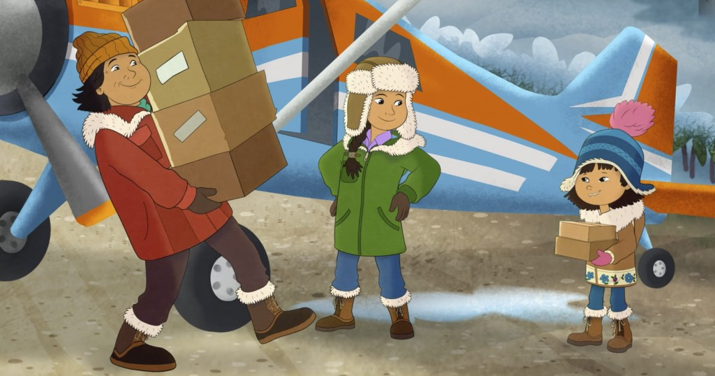 This image released by PBS shows characters, from right, Molly, voiced by Sovereign Bill, her mother, voiced by Jules Koostachin, and father, voiced b