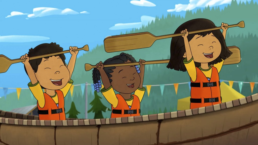 This image released by PBS shows characters, from left, Tooey, voiced by Sequoia Janvier, Trini, voiced by Vienna Leacock and Molly, voiced by Soverei