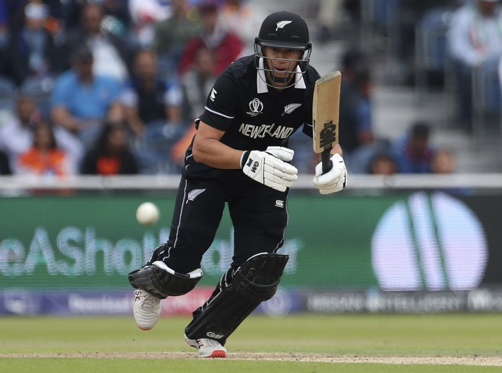 New Zealand's Ross Taylor bats during the Cricket World Cup semi-final match between India and New Zealand at Old Trafford in Manchester, England, Tue