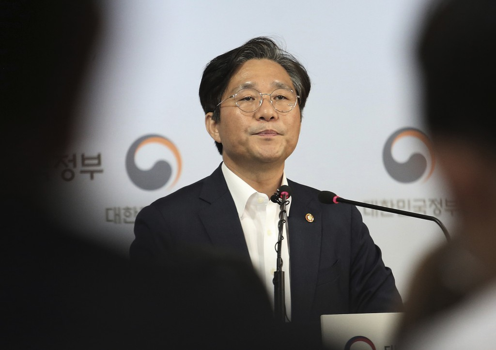 Sung Yun-mo, South Korea's Minister of Trade, Industry and Energy, listens to a question during a press conference at the government complex in Seoul,