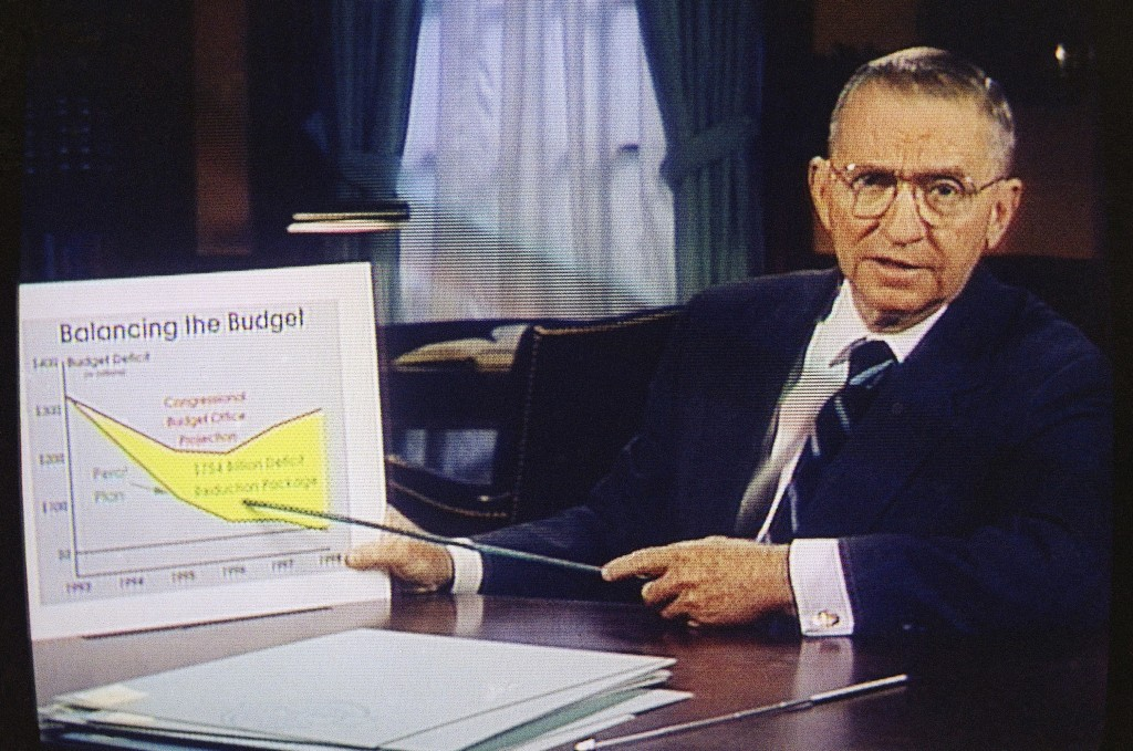 FILE – In this Oct. 16, 1992, file photo, Ross Perot is shown on a screen in a paid 30-minute television commercial, during a media preview in Dallas....
