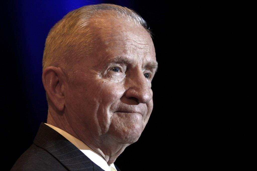 FILE - In this April 20, 2019, file photo, Ross Perot listens to a reporter's question during a news conference before accepting the Command and Gener...